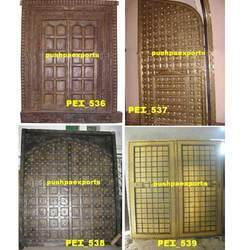 Wooden and Brass Carved Door
