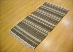 Grey, White Cotton DR-01 Durries Rugs for Home