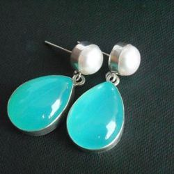 Aqua Blue Chalcedony And Pearl Gemstone Earring