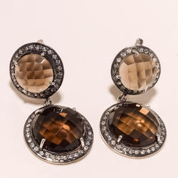Smoky Topaz With CZ Earrings