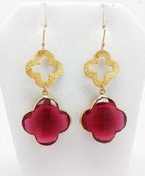 Red Quartz Clover Shape Bezel Set Gemstone Earrings