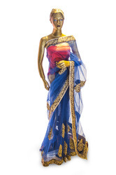 Party Wear Printed Blue Net Ethnic Saree, 5.5 m (separate blouse piece), Machine Made