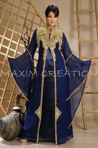 19075b92b262 Georgette Embroidered Islamic Fashion Party Wear Kaftans, Rs 2600 ...
