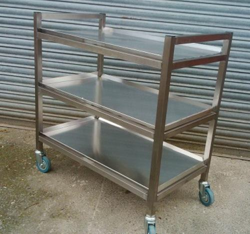 Stainless Steel Tray Trolley, Capacity: 50 100 Kg