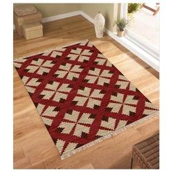 Multicolor Ivory Rug Creation Flat Weave Dhurrie, Size: Standard