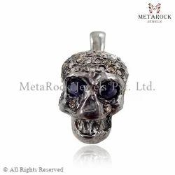 Skull Charm Pendant, Diamond Skull Pendant