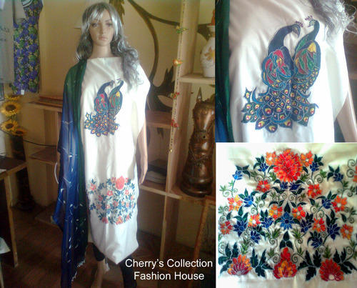 Hand Painted Embroidered Ladies Suit