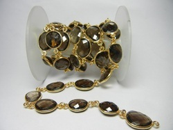 Gold Plated Smoky Quartz Bezel Set Connector Station Chain