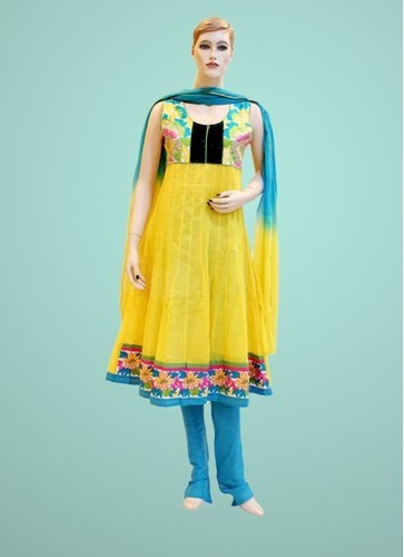 Yellow And Blue Semi Stitched Cotton Salwar Kameez