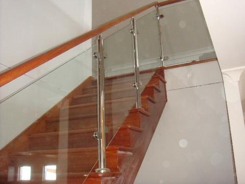 Wooden Glass Railing Stainless Steel Railing Baluster