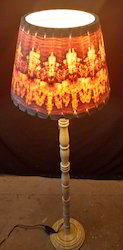 Wooden Floor Lamp Conical Shade