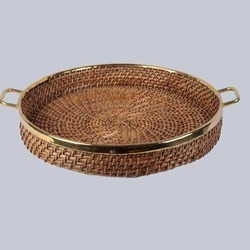Round Cane Tray With Handles