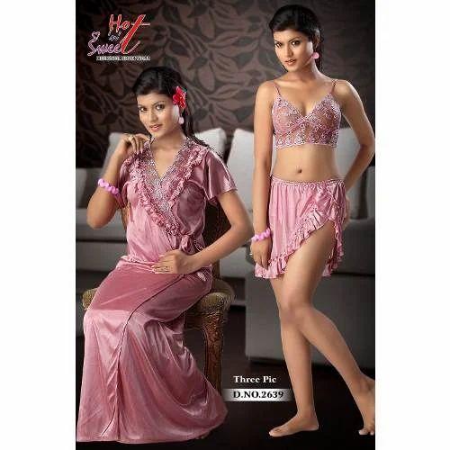 Ladies Three Piece Designer Nighty at Rs 450  piece  8186f11ed