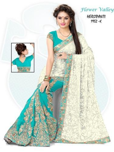 1fe889badee Georgette Off White   Light Blue Sarees at Rs 1295