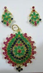 Ruby Emerald Sapphire Pendant Set