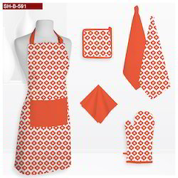 Orange Geometrical Pattern Printed Kitchen Linen Set