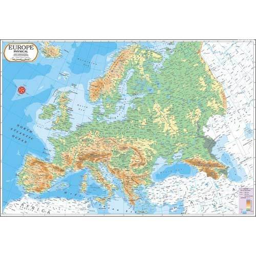 Europe Physical Map - View Specifications & Details of Teaching Aid ...
