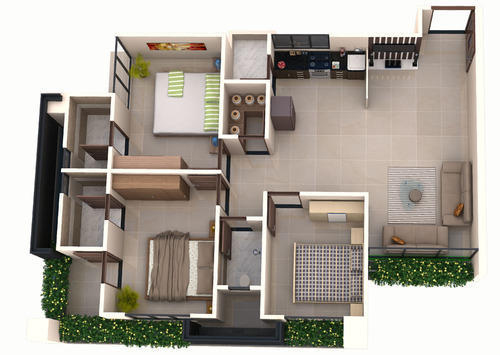 Layout Plan - 2 Bhk Typical Commercial Complex Construction