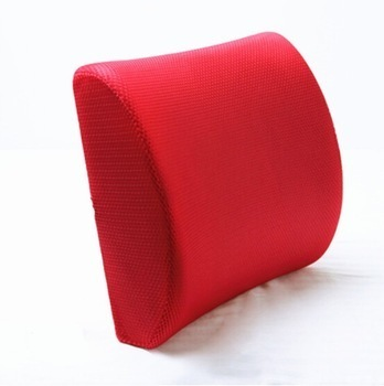 Red Plain Memory Foam Back Cushion