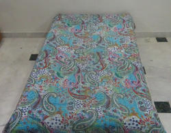 New Cotton Kantha Paisley Bed Cover Single