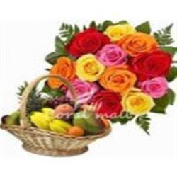 Mix Roses Basket & Fresh Fruit