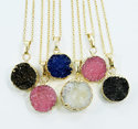 Druzy Gold Electroplated Necklace