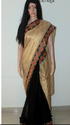 Cream  And Black  Designer Saree