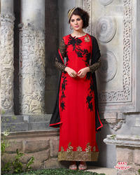 Red Georgette Fabric Suit