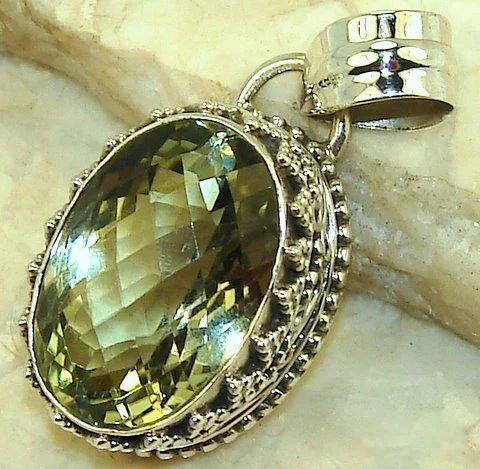 Green amethyst pendant designer sterling silver pendant raja park green amethyst pendant aloadofball Images