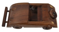 Dark Brown Wood Wooden Turbo Car Toy, for kids