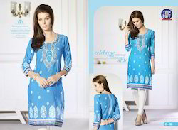 Printed Blue Cotton Women Kurti