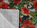 Floral Printed White Kantha Quilt