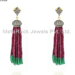 Pave Diamond Tassel Earrings Jewelry