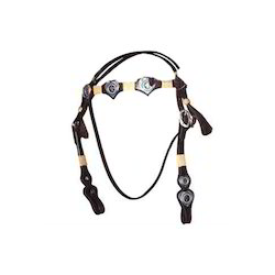 Black Leather Horse Western Beads Bridle Tack
