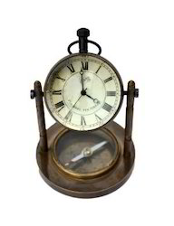 Brass Antique Clock and Compass