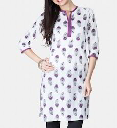 White And Purple Printed Kurti
