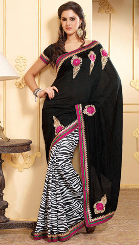Black and White Saree with Blouse