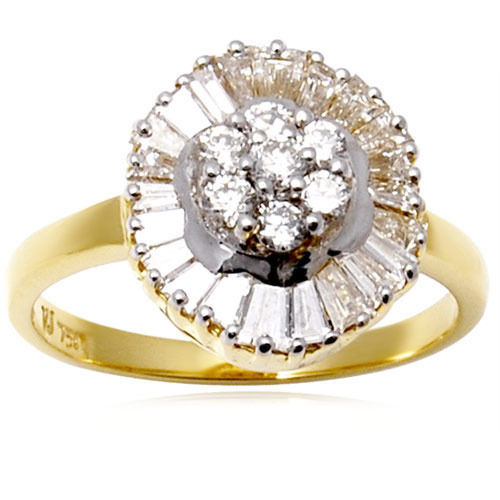 Engagement And Party Women' s Flower Diamond Gold Ring
