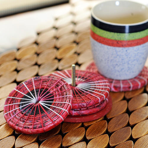 drink coasters coaster set coffee and tea coasters Blue with brown dots coasters coiled coasters coasters Set of 4 handmade coasters