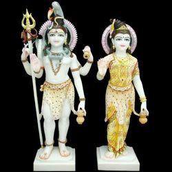 4 Feet Marble Shiv Parvati Statue