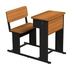Wood and Stainless Steel Two Seater School & College Furniture
