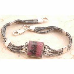 Rhodonite Bracelet in 925 Sterling Silver