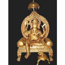 Ganesh Sitting Statue On Throne