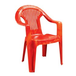 Red Plastic High Back Chair with Arms