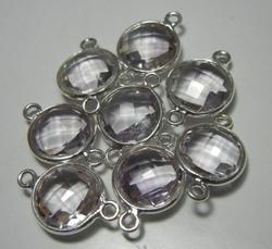 Crystal Gemstone 925 Sterling Silver Bezel Connectors