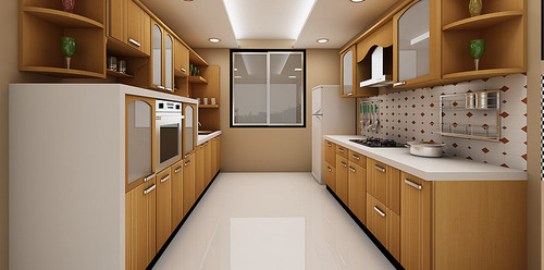 Parallel Wall Modular Kitchen Cabinets, Prefabricated Kitchen Cabinets Arranged In Single Wall