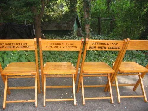 Vintage Snyder Antique Wood Oak Wooden Folding Chairs - Vintage Snyder Antique Wood Oak Wooden Folding Chairs - Mishra