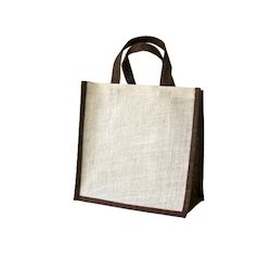 Off White And Brown Plain Christmas Jute Gift Bags