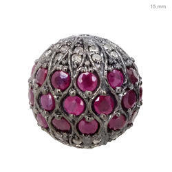 Ruby Gemstone Diamond Bead Ball