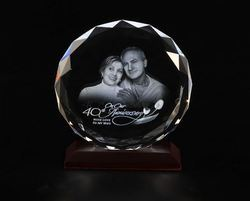 Etched Round Crystal Photo Frame
